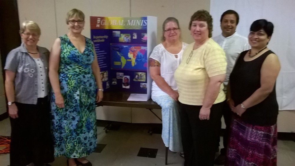 Pictured left to right are Marsha McGuire, CHCC pastor Jacque Foster, Brenda Booth, Leslie Latham, Anil Henry, and Teresa Henry.