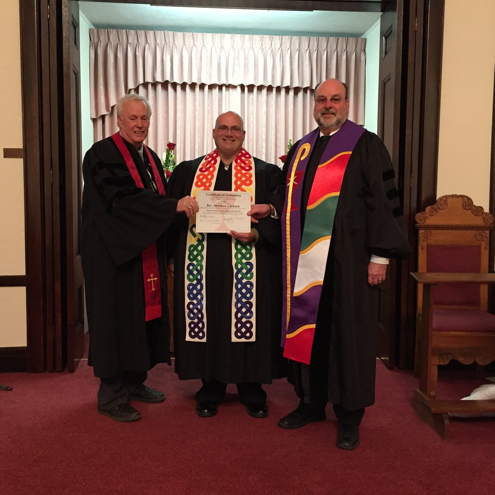 Matt (center) is pictured here with Patrick Overton (left) and Larry Colvin (right).