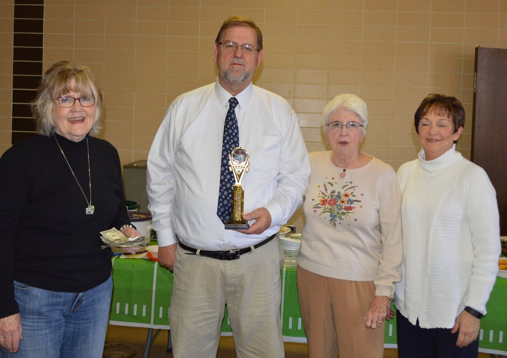 L-R Jan Duffy, Outreach Chair, Pastor Frank Chlastak,Gail Doss, Kathy Richardson