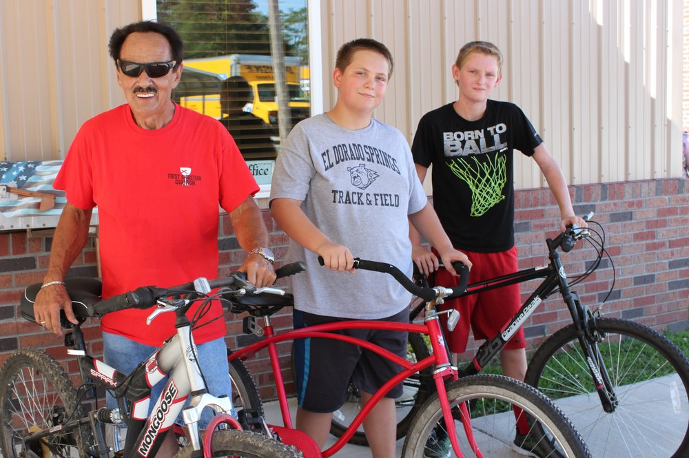 Not exactly appropriate bikes for cross country, but made the journey across town. First Christian Church (DOC) Rev. Jack Daniel, Cody LeAn, and David Nations, Jr.