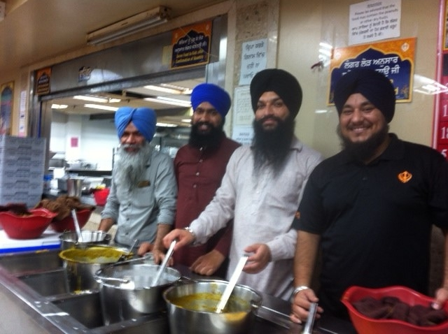 Community meal provided at the Sikh Temple after worship.