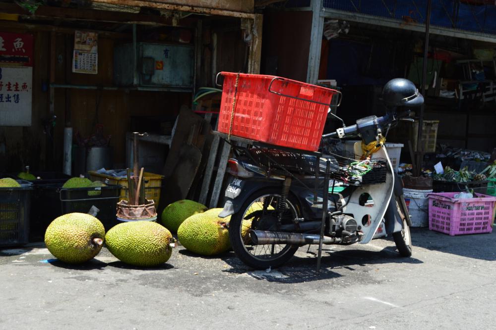 Durians and motorbike - Penang, Malaysia