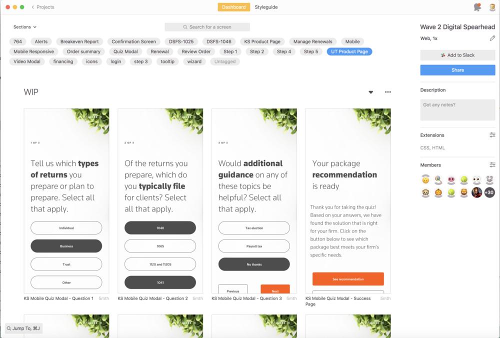 Screenshot of Zeplin project