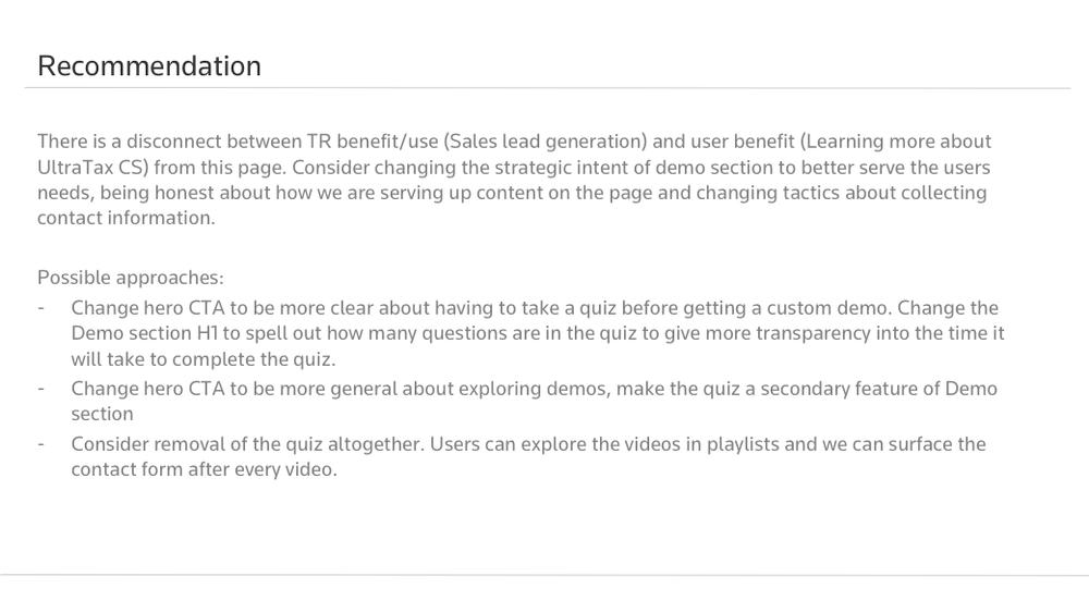 User Testing Report Excerpt - Reccomendations