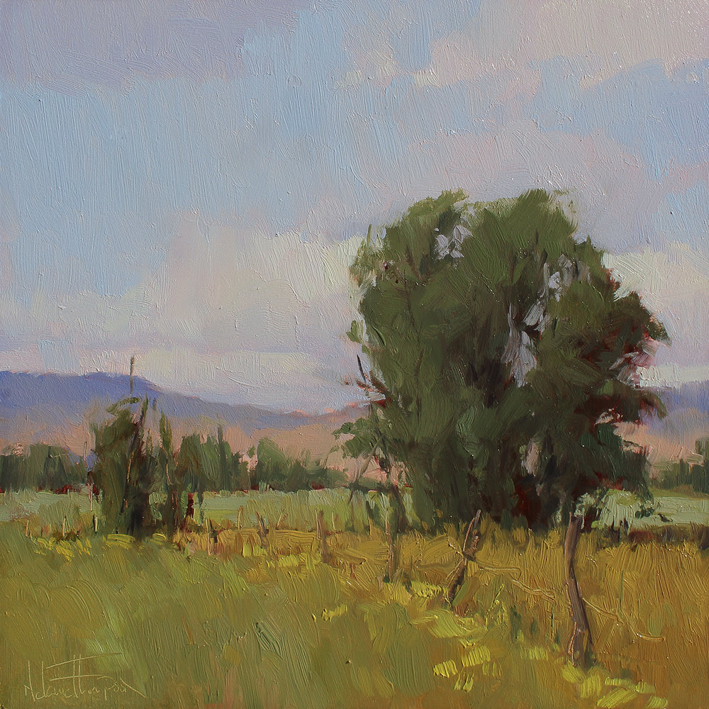 """VALLEY FIELDS""     oil      6""x6""      $300."