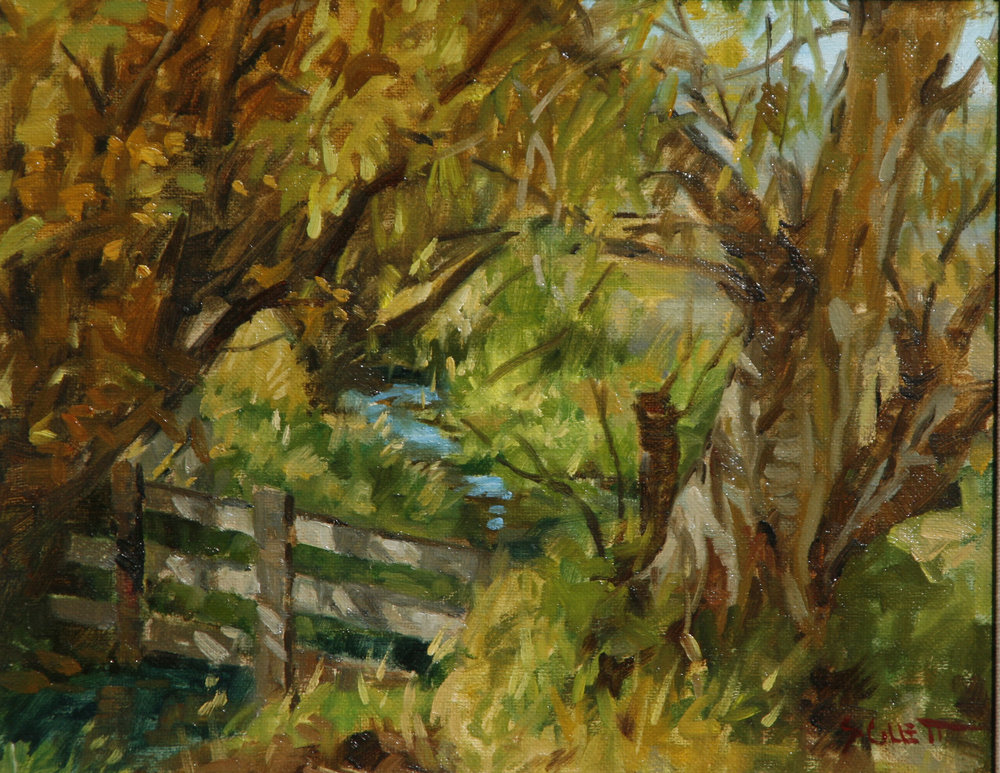 """""""OLD FENCE""""   oil   8""""x10""""   $500."""