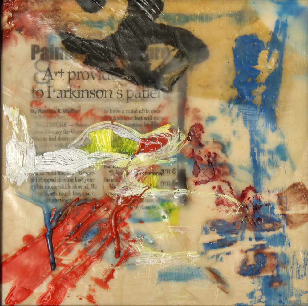 """FIRST HOT WAX JOB""   encaustic  7.5""x7.5""   $110."