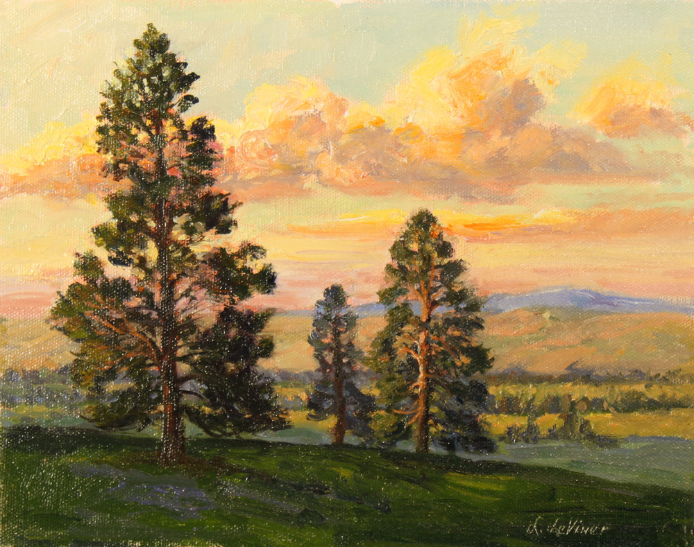 """PINE TREE LANE EVENING""  oil   8""x10""    $450. SOLD"