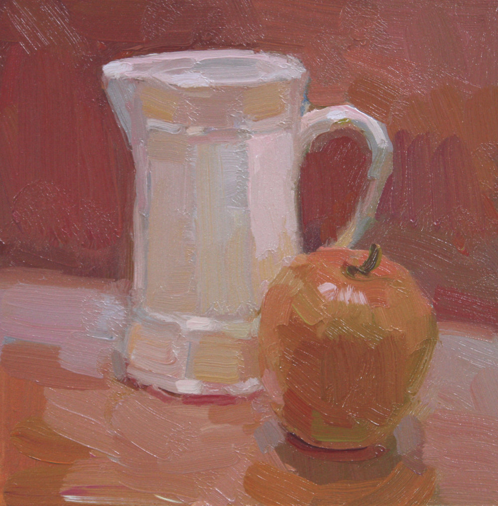 """APPLE AND CREAMER""  oil   7""x7""   $375."