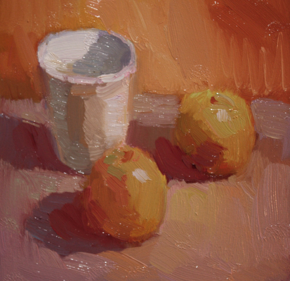 """TWO APPLES""   oil   9""x9""   $550."