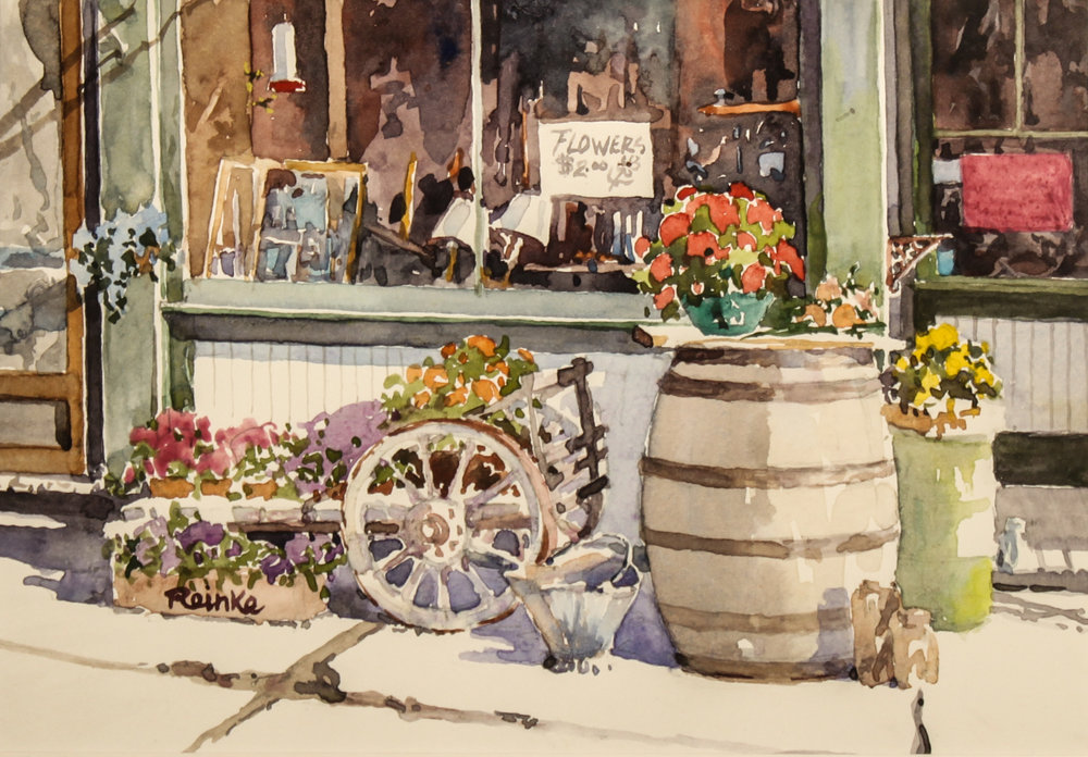 """""""ANTIQUES AND FLOWER SHOP"""" watercolor 7""""x10"""" $600."""