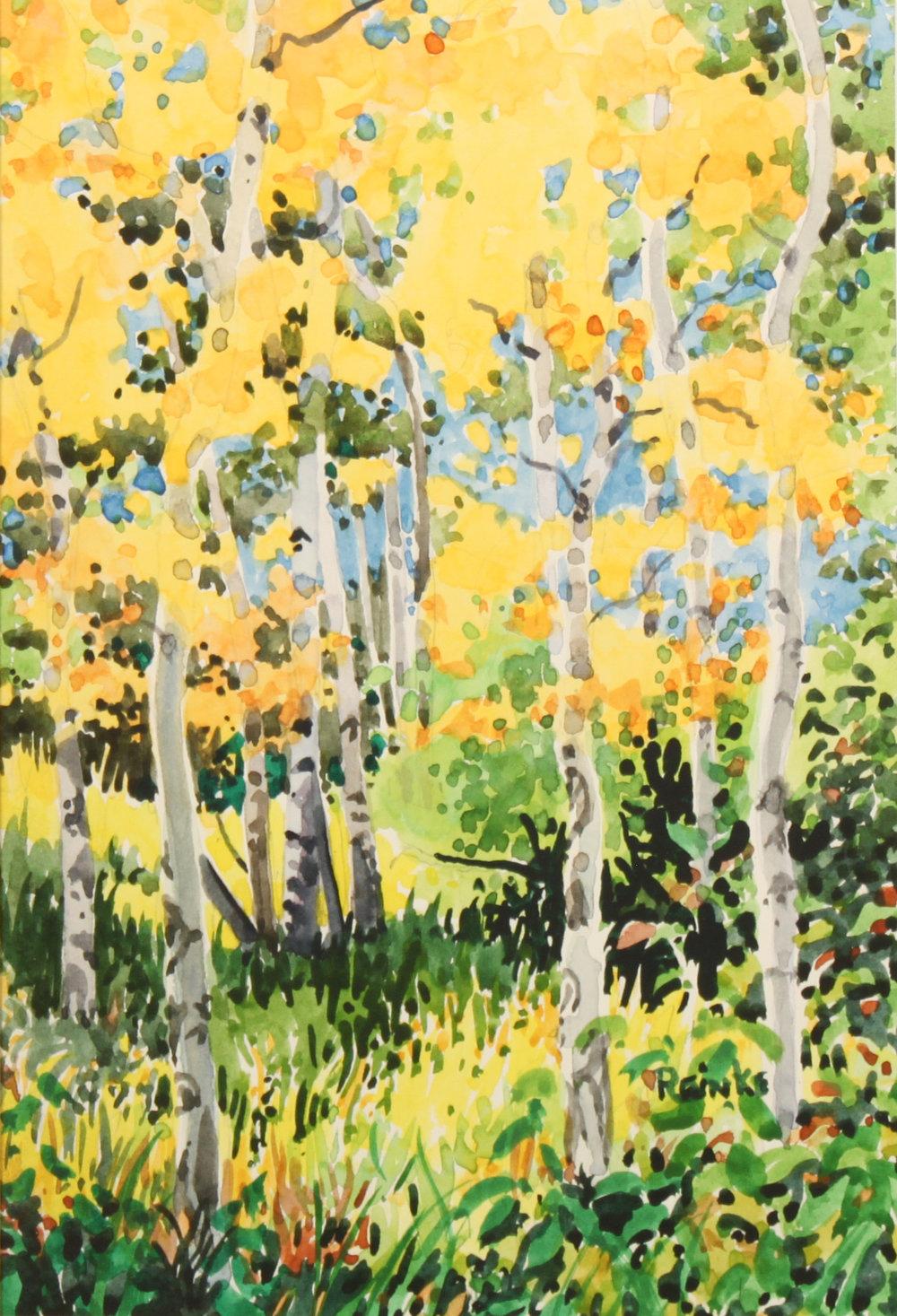 """""""ASPEN GOLD"""" watercolor 10""""x7"""" $600."""