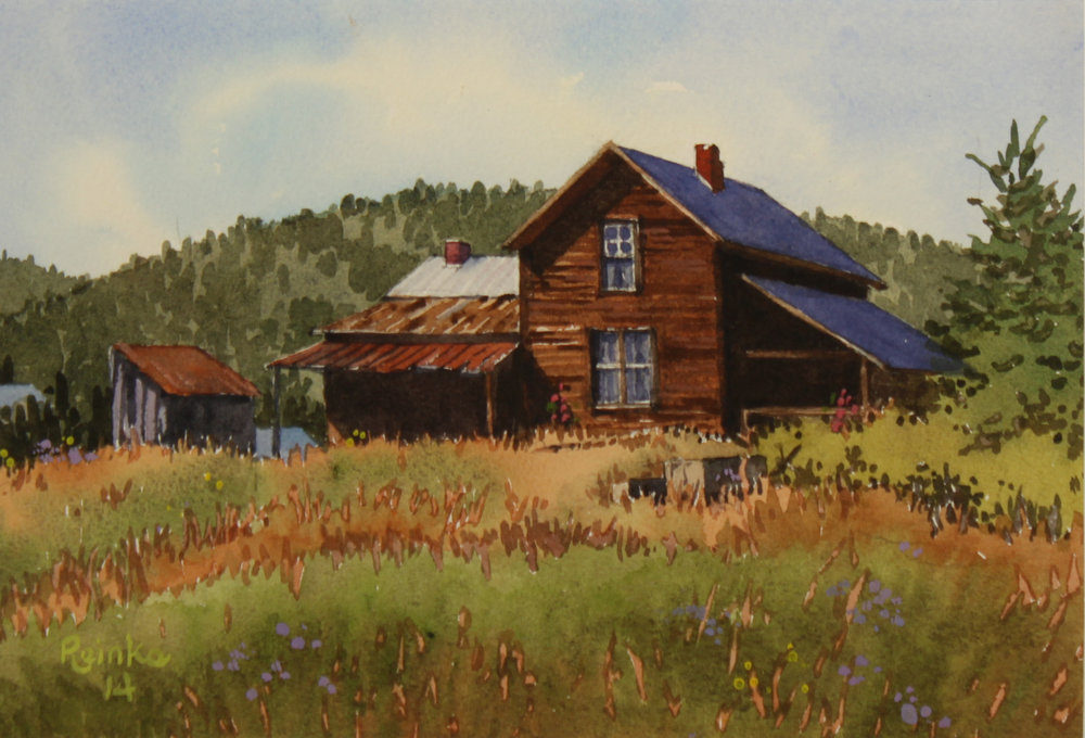 """GRANITE OREGON, HOMESTEAD""  watercolor  7""x10""   $500."