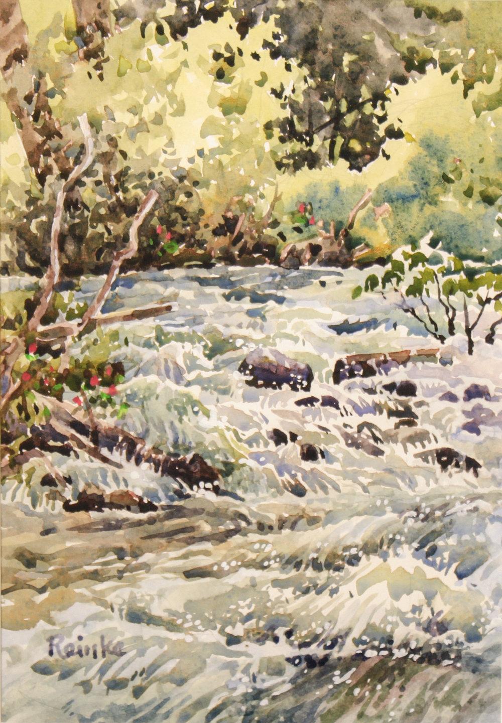 """WALLOWA RIVER (WALLOWA LAKE)"" watercolor 10""x7"" $550."