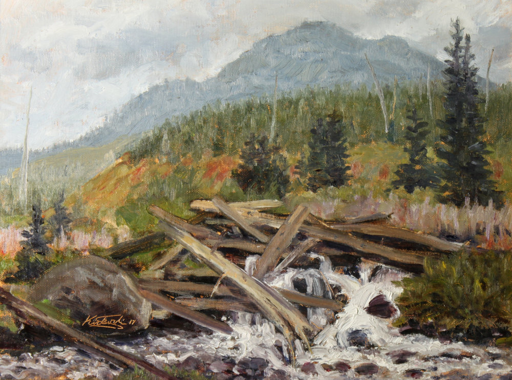 """LOG JAMB ON SHEEP CREEK""   oil   9""x12""   $475."