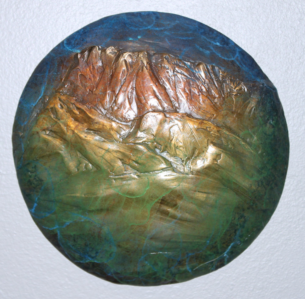 """RUBY PEAK""   bronze   8"" diameter   $275."