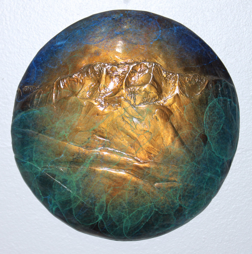 """JOSEPH MOUNTAIN""bronze 8"" diameter $275."