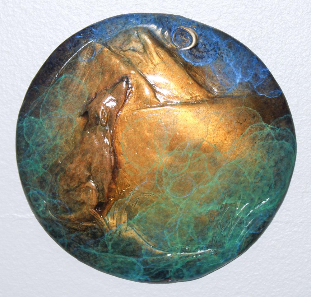 """""""SONG DOG"""" bronze 6"""" diameter $175."""