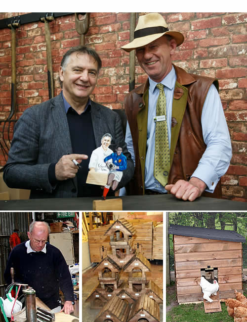 Top - Raymond Blanc with John Wilesmith at The Malvern Spring Festival 2015 L-R John Wilesmith, House Martin Bird Tables, Marin Poultry House