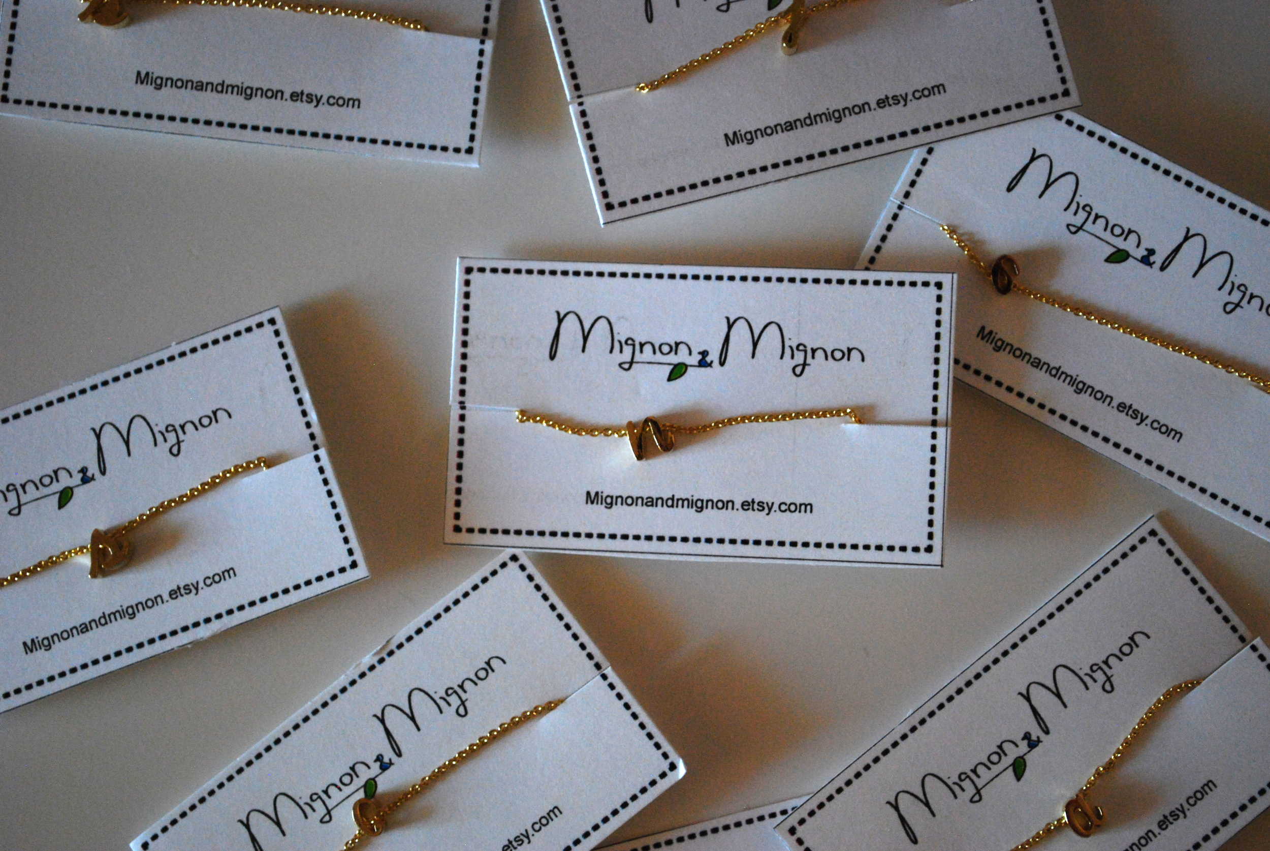 Initial necklaces from Mignon and Mignon's Etsy shop