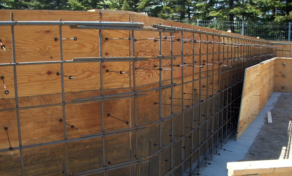 Concrete formwork during construction.