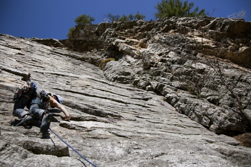 My first lead climb in the Gunks, Arrow (5.8). Photographs by Jinda Phommavongsa