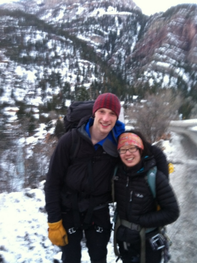 Jon and me after a day of slaying ice in Ouray, Colorado