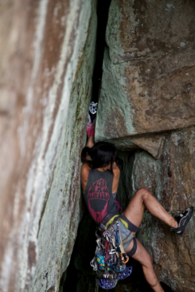 The Drain Pipe (5.11a). Butterflies give me butterflies. Photograph by Nick Lanphier