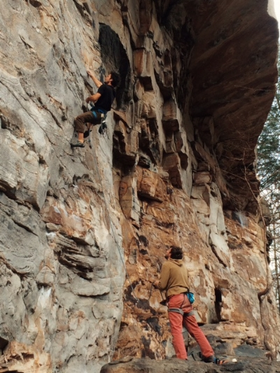 Paul Brenner on the starting moves of Puppy Chow, possibly one of (if not, THE) best 12 sport climb in NRG