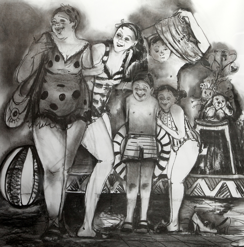 Anna Mazzotta, The Bathers, charcoal drawing