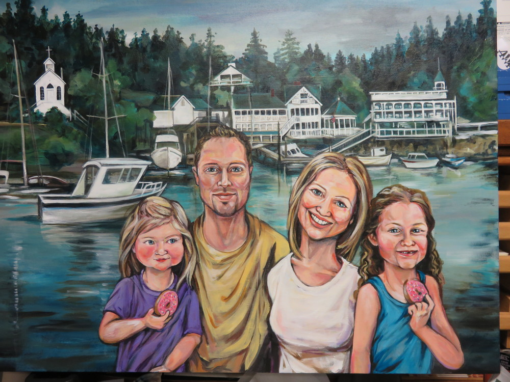 "Custom family portrait; Roche Harbor, WA  finished dimensions 40""x60"""