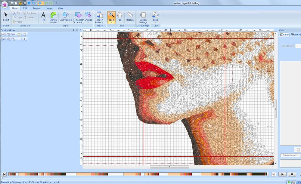 Screenshot of PE-Design Next embroidery software