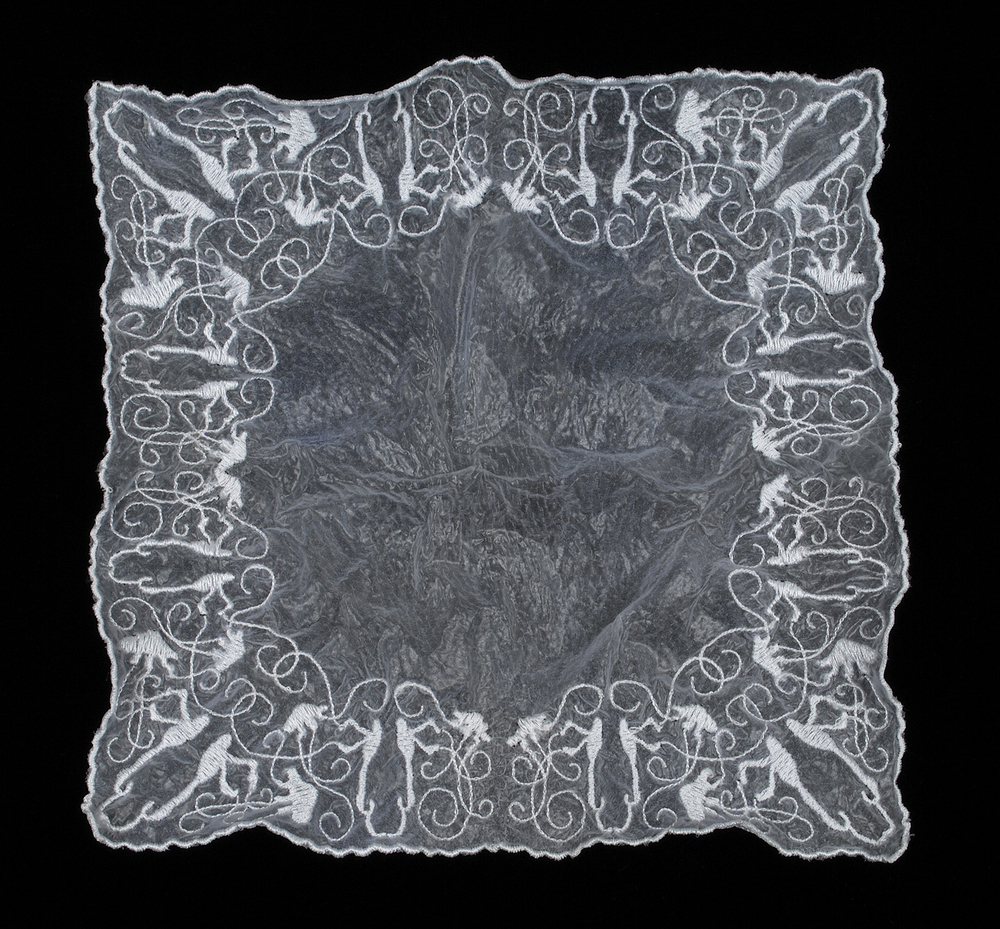 Handkerchief (Anatomy of Tears), 2009, computerized machine embroidery on cosmetic facial peel, 8.5L x 8.5W x .5D inches