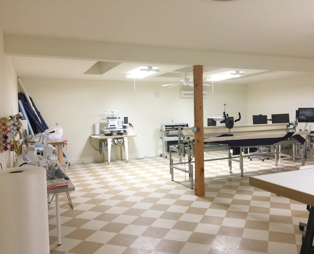 Textile Technology Studio: 12 ft Automated Long Arm Quilting Machine, 10 Needle Digital Embroidery Machine, Cutter/ Plotter and many other machines and tools for exploring how to transform drawings, paintings, photography and other media into a wide range of fiber- related forms.