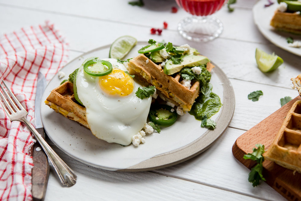 savoury breakfast waffles with salsa verde - recipe collaboration with my kitchen love.  see recipe.