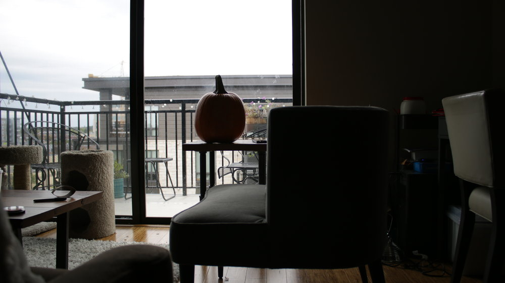 The pumpkin sits and waits.