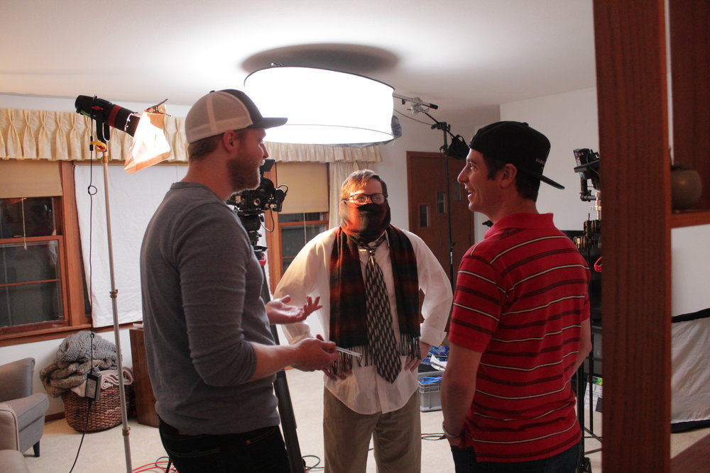 Director Mike telling Joe and Nathan Dane Cook jokes.