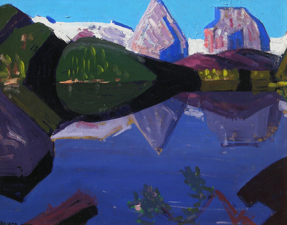 Mountain Reflection, Sierra Lake    / Oil on Board / 15.875 x 19.75 in.