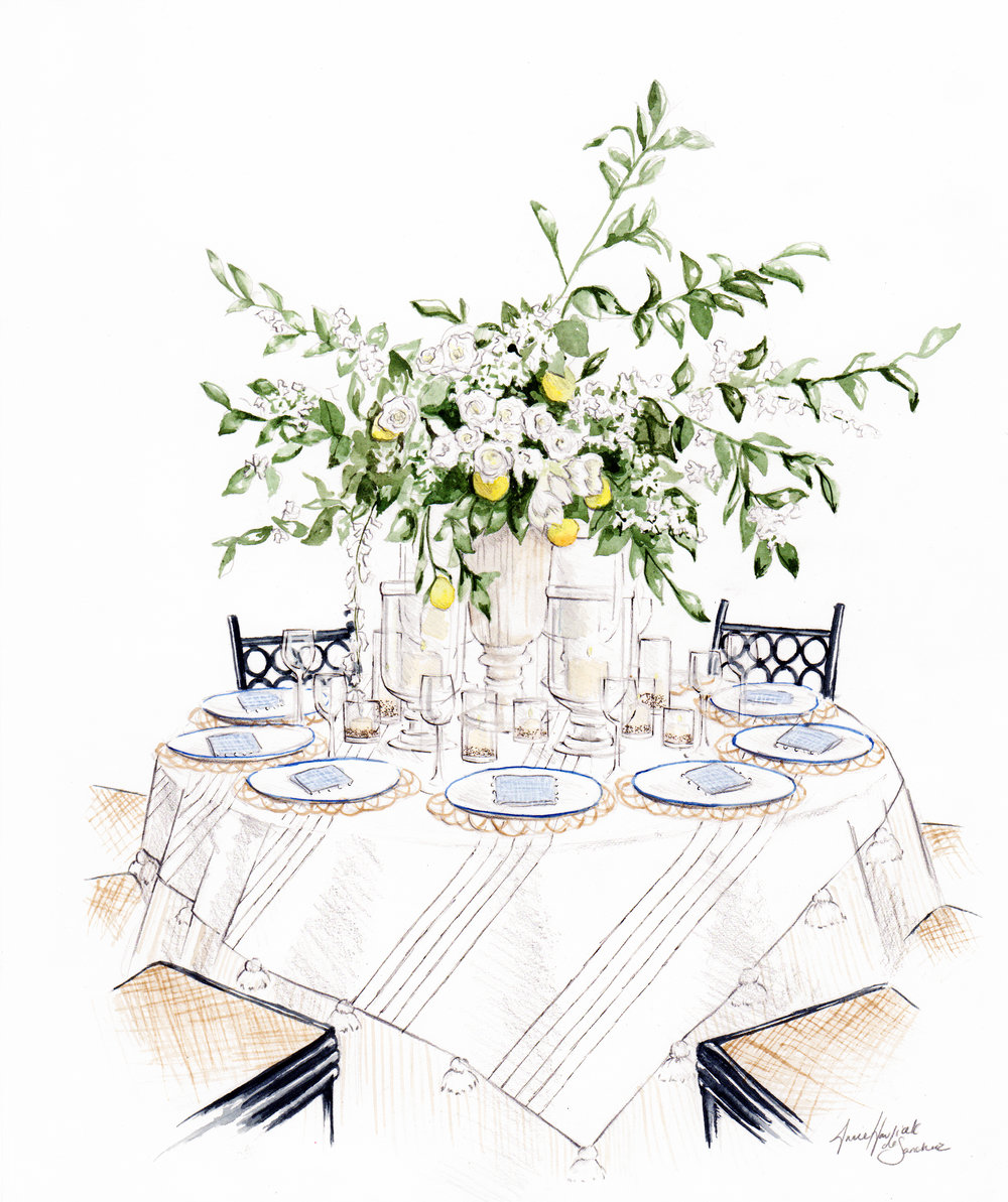 Illustration of a table designed by Grace Rosentein for the Lennox Hill Neighborhood House Gala in collaboration with Serena and Lily