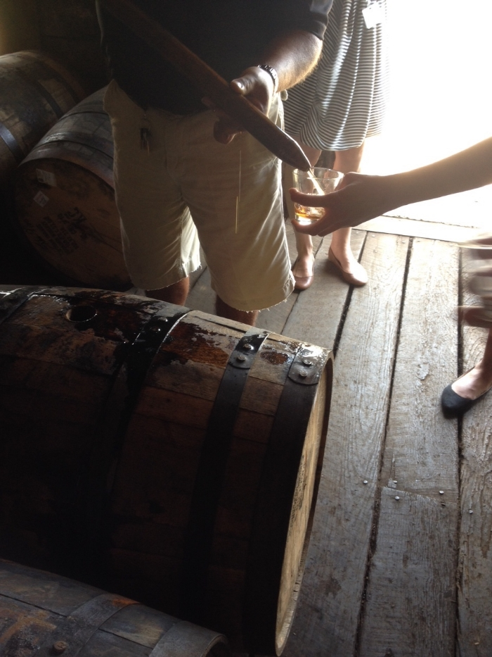 Tasting straight out of the barrel.