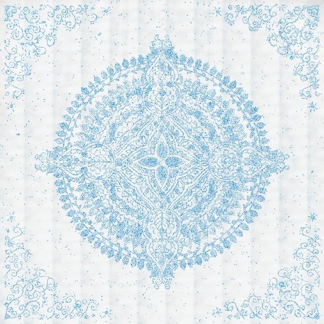 Image: HeLa cell Pattern art mandala in blue tones