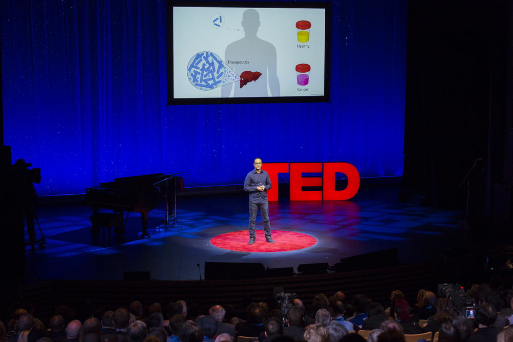 """TED 2015: Liver cancer is one of the most difficult cancers to detect, but synthetic biologist Tal Danino had a left-field thought: What if we could create a probiotic bacteria that was """"programmed"""" to find liver tumors? His insight exploits something we're just beginning to understand about bacteria: their power of quorum sensing, or doing something together once they reach critical mass. Danino, a TED Fellow, explains how quorum sensing works-- and how clever bacteria working together could someday change cancer treatment. Read more at the TED Blog."""