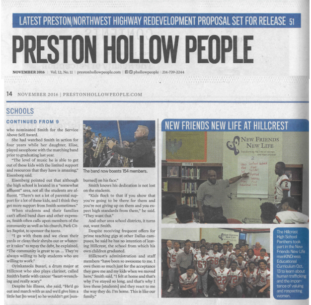 manKINDness curriculum delivery at Hillcrest High School featured in Preston Hollow People