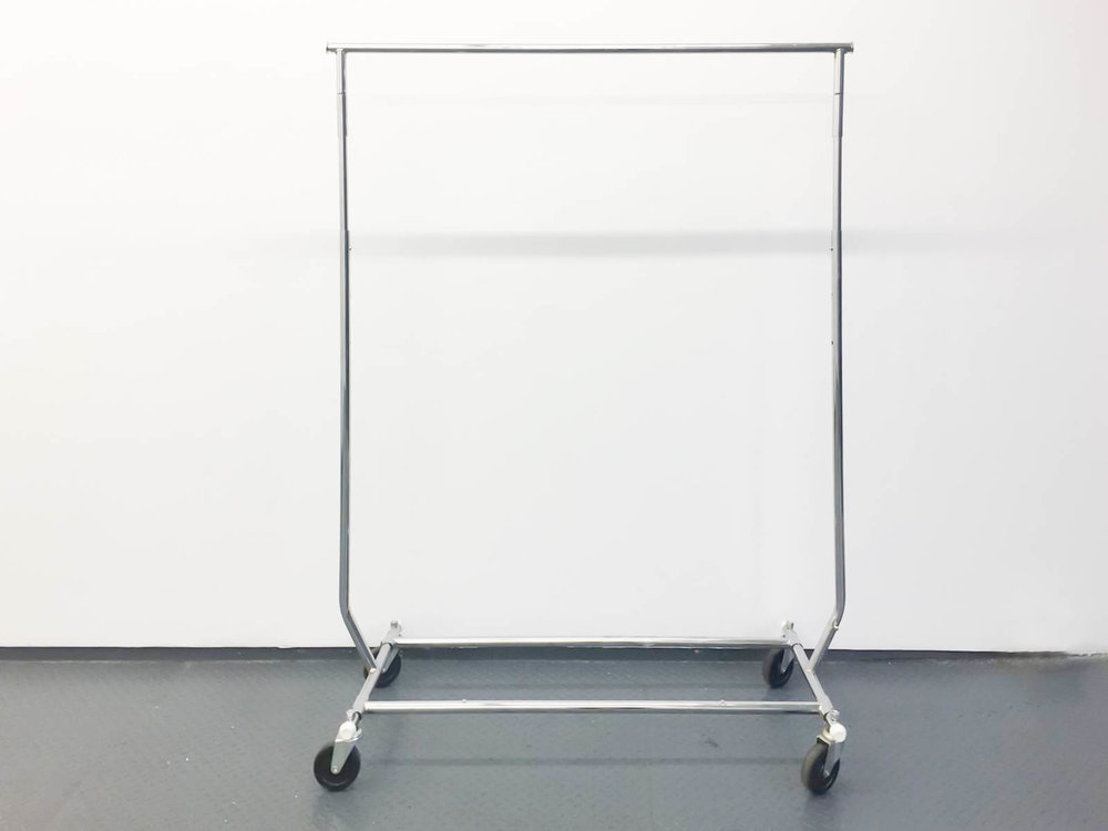 "Silver Racks 4 available 46-74"" tall x 65"" wide $65/ week Ref: SRA01"