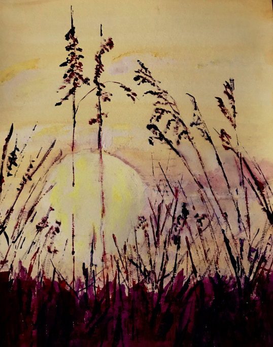 The Wheat Field at Sunset by Bo