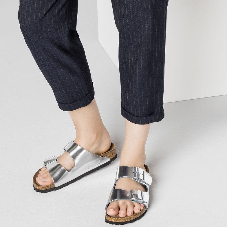 63c43f2c4fd Arizona Soft Footbed Metallic Silver — Masada Leather