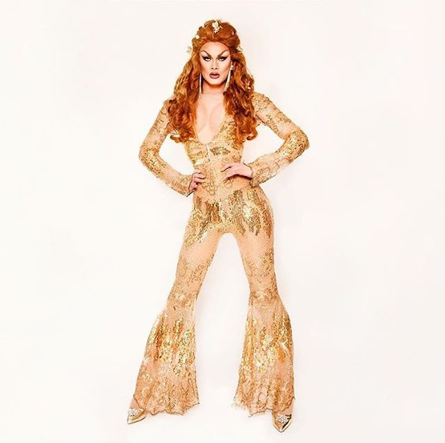 I made this jumpsuit for @scarletenvy years ago for a little event I used to throw at TNT in Brooklyn called Fashion Frenzy. It's so cool to see something I made so long ago on my dining room table on the main stage of drag race. I've made lots of pieces that have graced that stage but this one feels particularly special to me.