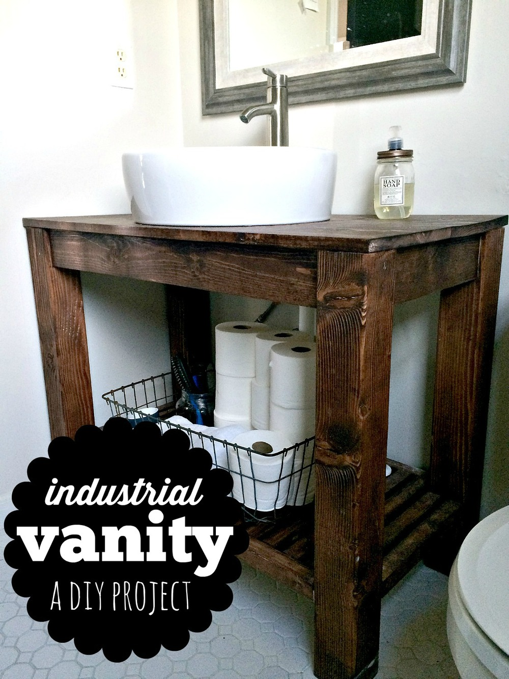 Diy industrial farmhouse bathroom vanity melissa voigt for Diy bathroom sink cabinet