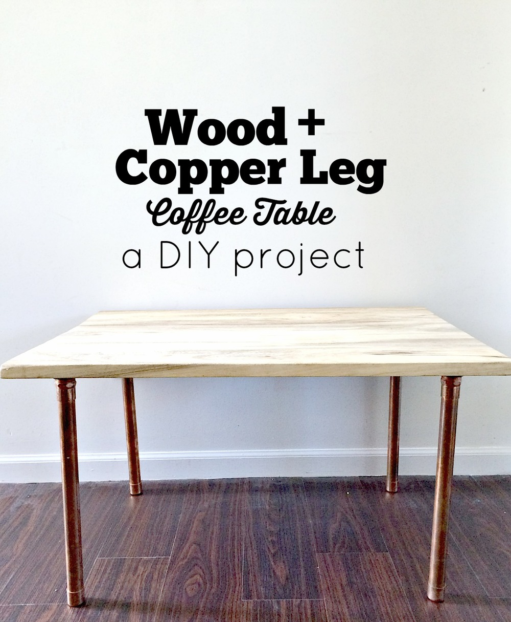 Salvaged Wood And Copper Leg DIY Coffee Table
