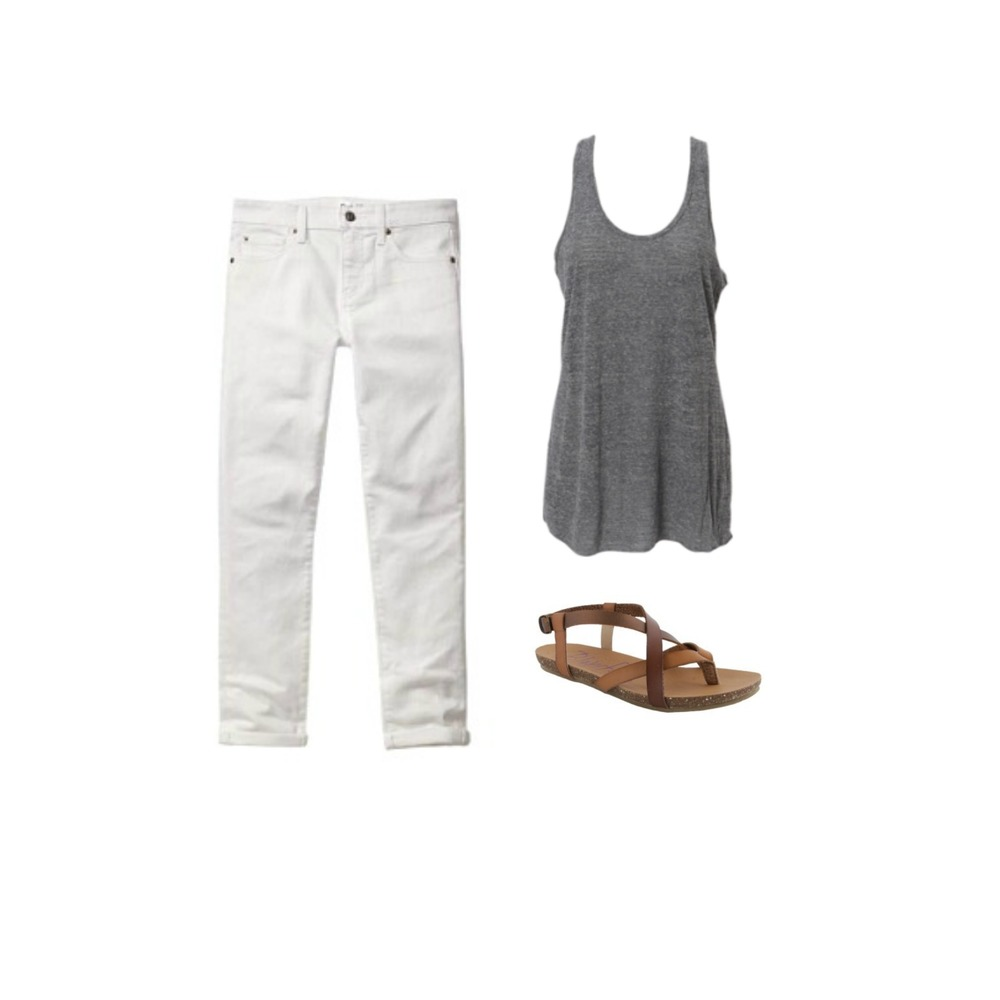 WHITE JEANS + GREY TANK + SANDALS